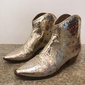 Free People x Faryl Robin Gold Vegan boots size 9